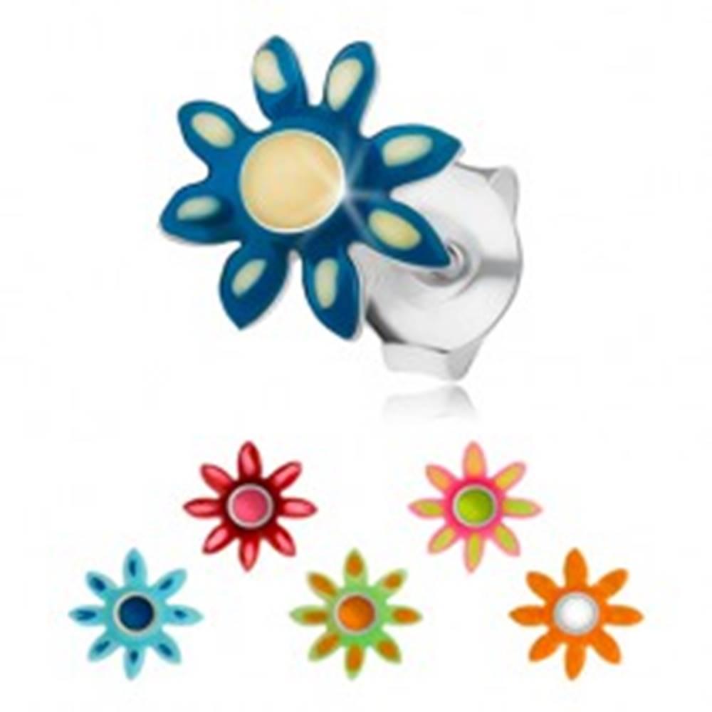 Šperky eshop Strieborné náušnice 925, kvietok s farebnou glazúrou, vypuklý stred, puzetky - Farba: Červená
