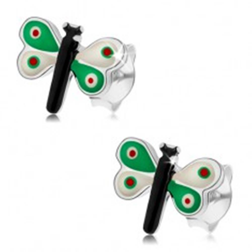 Šperky eshop Strieborné náušnice 925, motýlik s farebnou glazúrou, zeleno-biele krídla