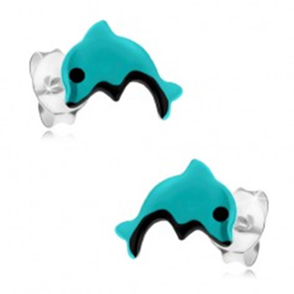Šperky eshop Strieborné náušnice 925, svetlomodrý delfínik s čiernym očkom a bruškom