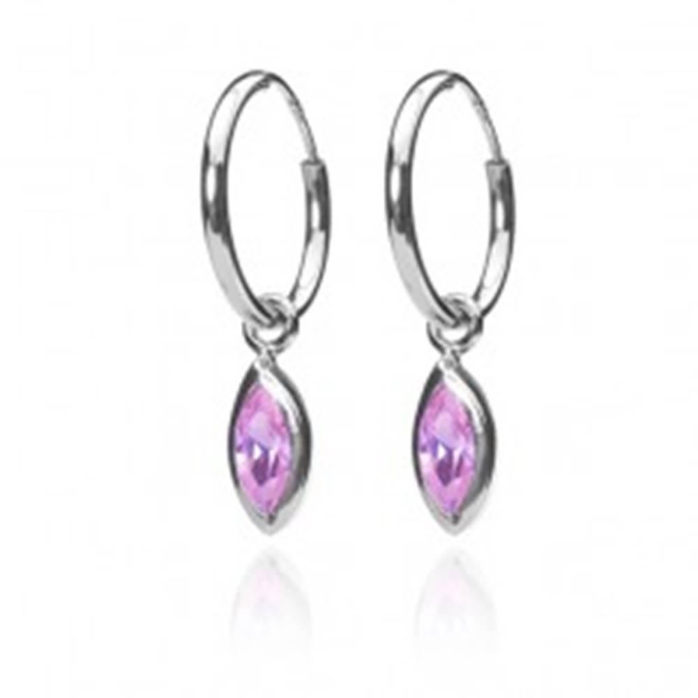 Šperky eshop Strieborné náušnice - krúžky s ružovými zrniečkami so strieborným obrysom, 12 mm