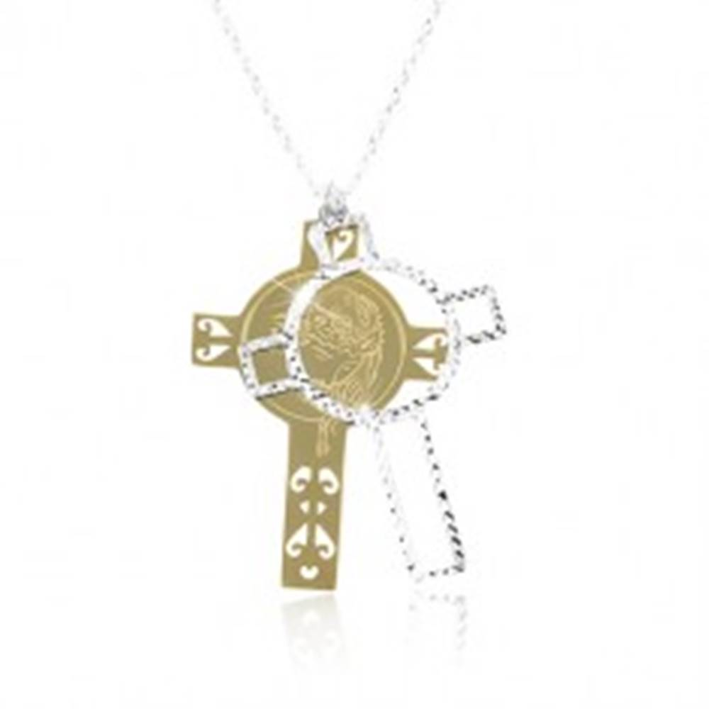 Šperky eshop Strieborný 925 náhrdelník, vyrezávaný kríž zlatej a striebornej farby