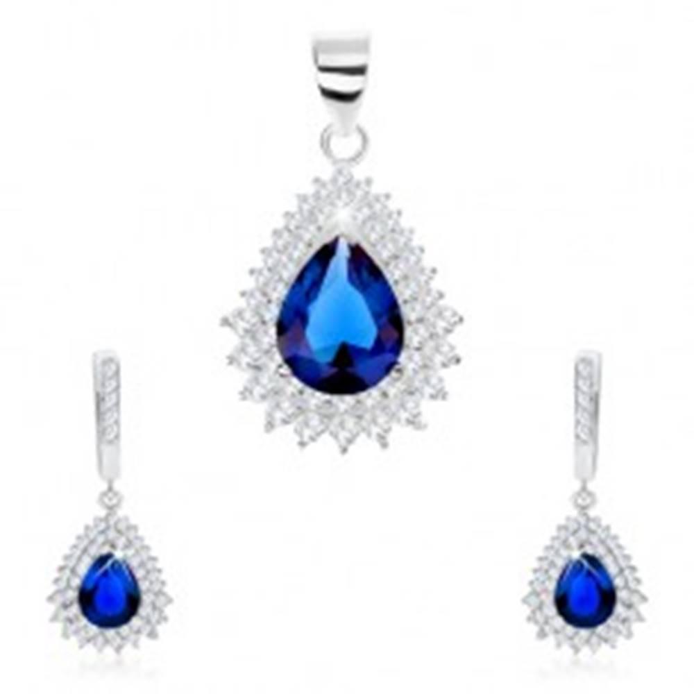 Šperky eshop Strieborný 925 set, prívesok a náušnice, zirkónová slza, číry lem