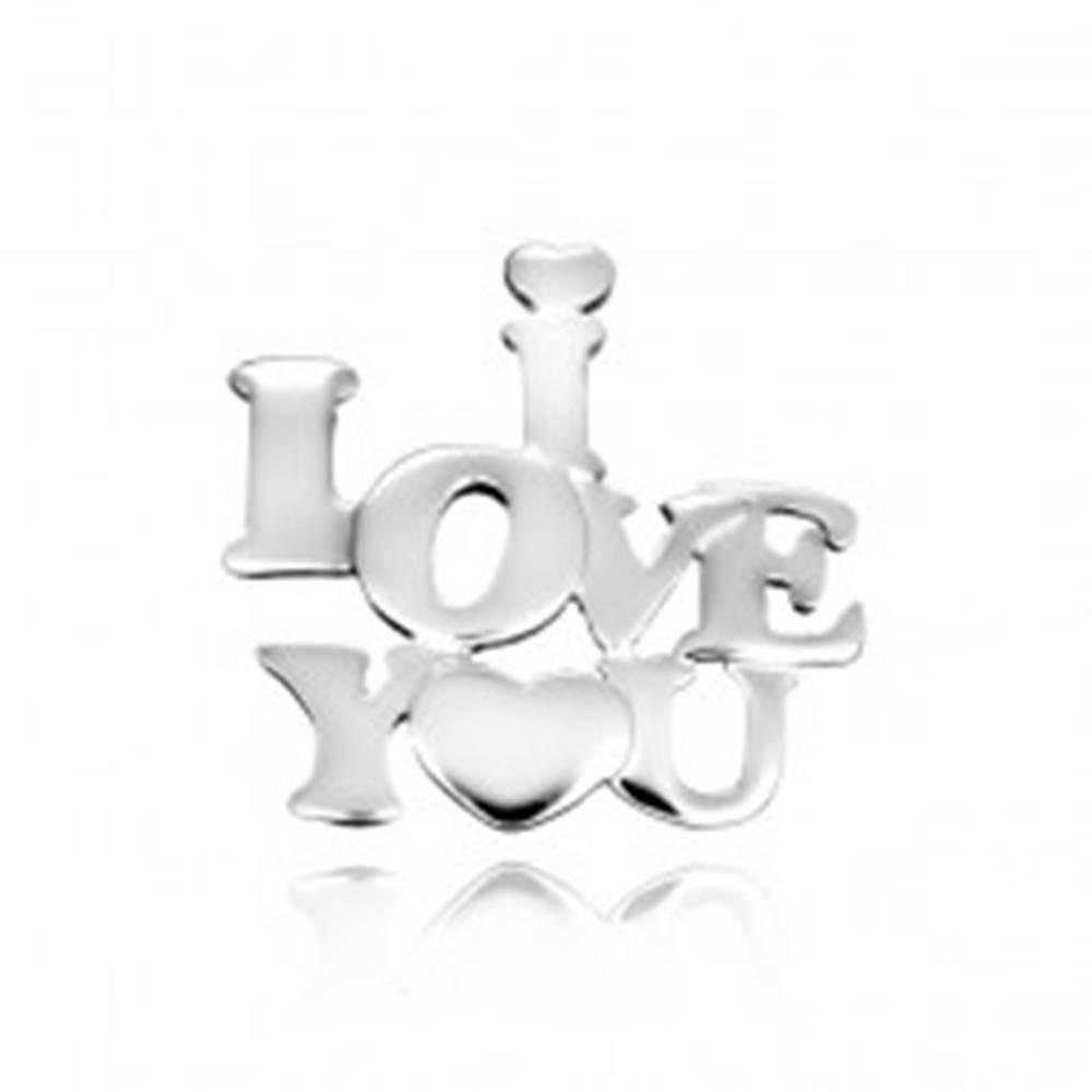 Šperky eshop Strieborný prívesok 925 - nápis zamilovaných so srdiečkom
