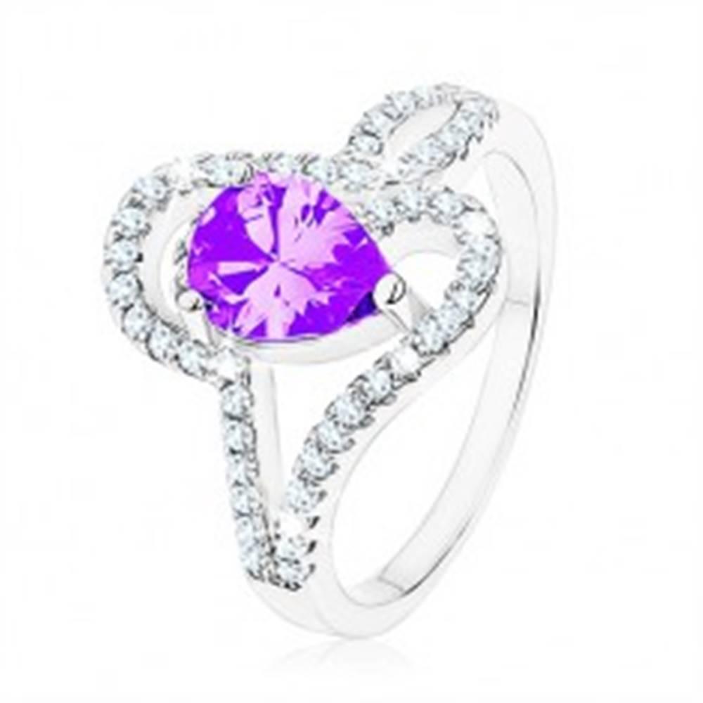 Šperky eshop Strieborný prsteň 925, zirkón tanzanitovej farby - slza, prepletené línie - Veľkosť: 49 mm