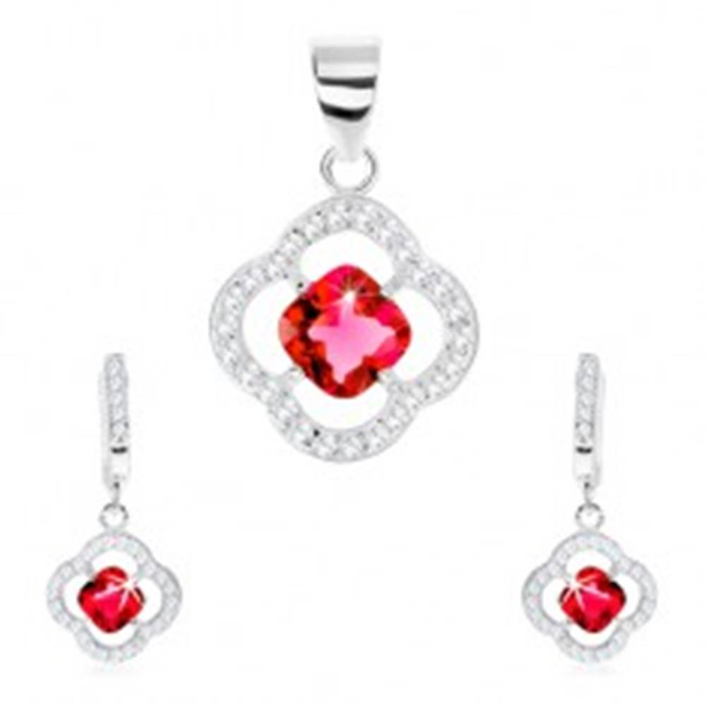 Šperky eshop Strieborný set 925, prívesok a náušnice, kontúra kvietku, červený zirkón