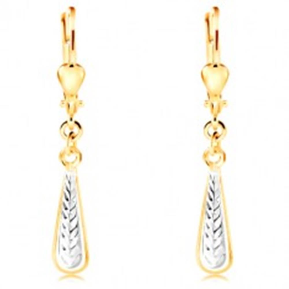 Šperky eshop Visiace náušnice v 14K zlate - úzka kvapka so zárezmi a bielym zlatom