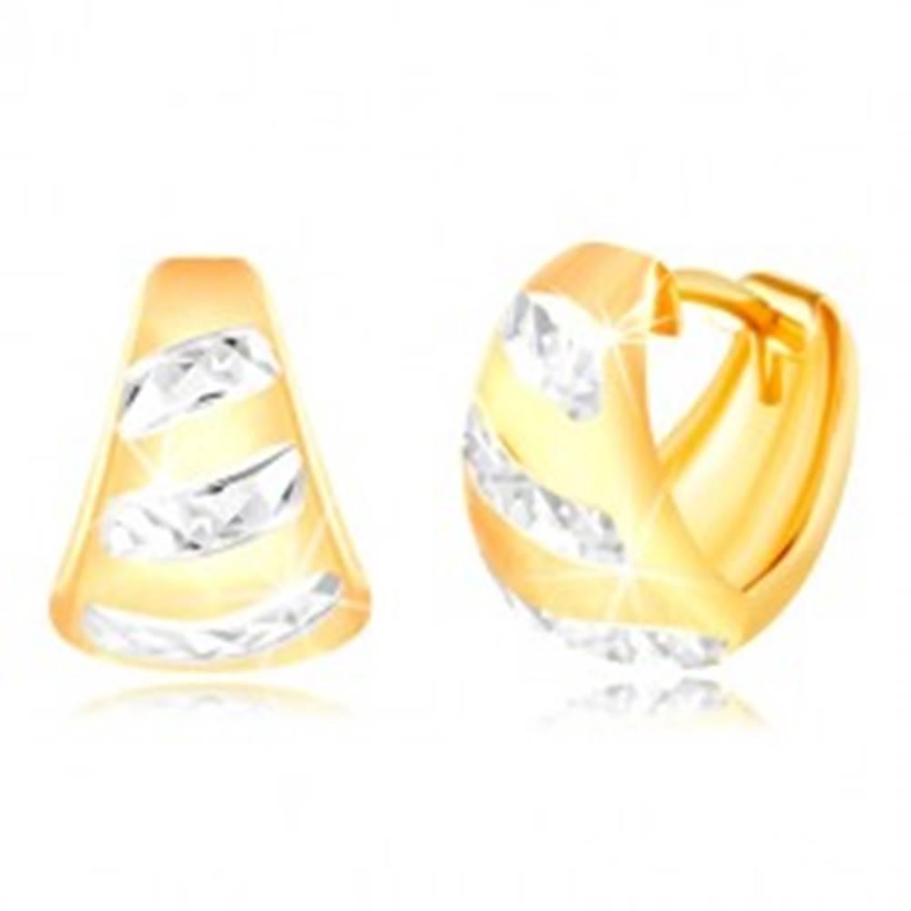 Šperky eshop Zlaté 14K náušnice - matný rozšírený oblúk, ligotavé pásy z bieleho zlata