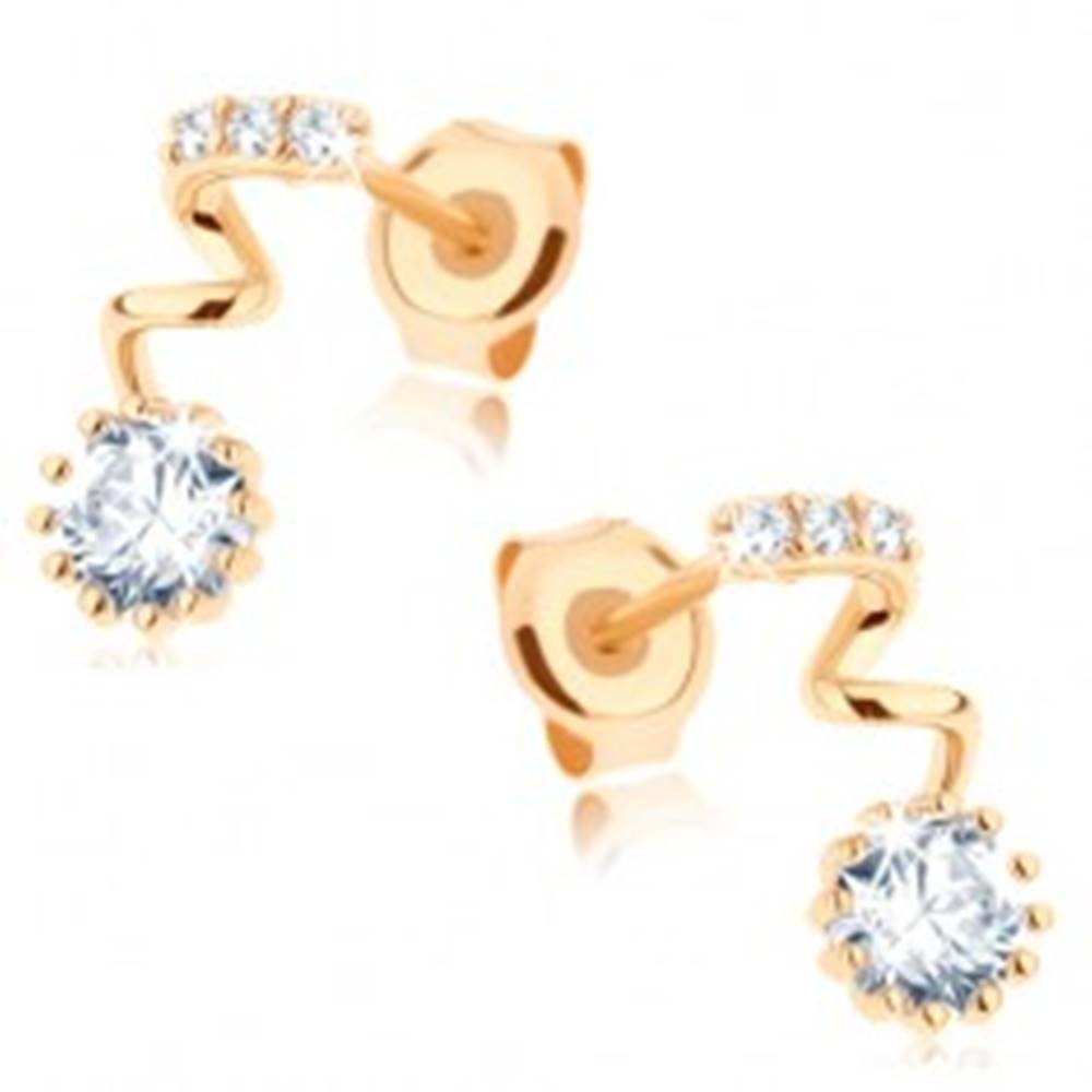Šperky eshop Zlaté náušnice 375 - okrúhly číry zirkón na špirále, pásik z drobných zirkónikov