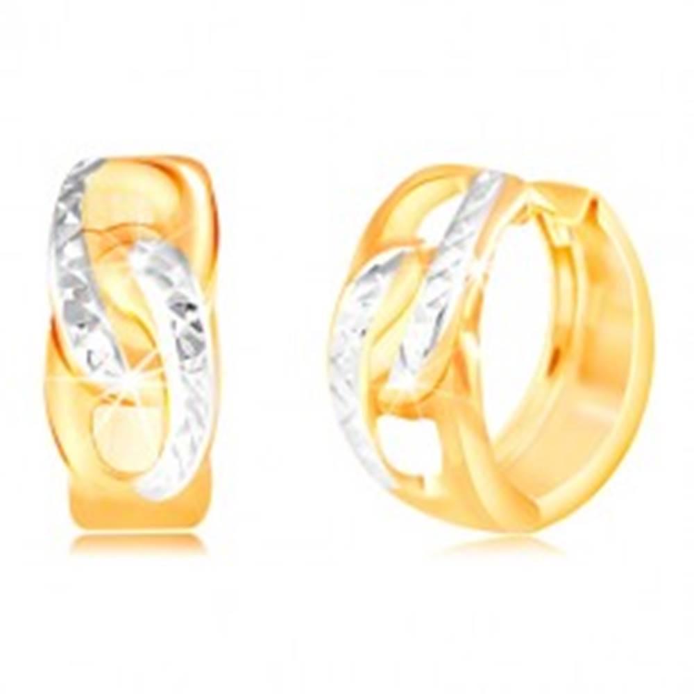 Šperky eshop Zlaté okrúhle náušnice 585 - dva prepojené ovály, línie s drobnými zárezmi