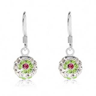 Biele náušnice zo striebra 925, zeleno-ružové kvety, Preciosa kryštály, 8 mm