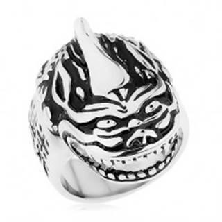 Masívny prsteň, oceľ 316L, patina, hlava draka, čínske znaky - Veľkosť: 60 mm