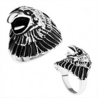 Masívny prsteň z ocele 316L, hlava orla s patinou, lesklé ramená - Veľkosť: 59 mm