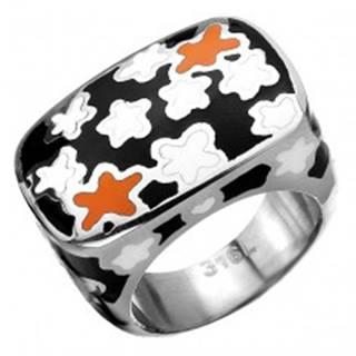 Mohutný prsteň z chirurgickej ocele s kvietkovaným motívom - Veľkosť: 54 mm