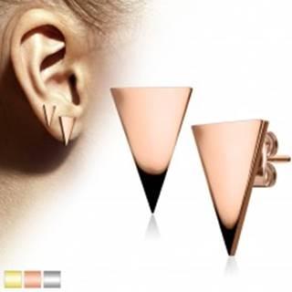 Náušnice z chirurgickej ocele, veľký lesklý trojuholník - Farba: Medená
