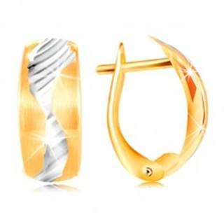Náušnice zo 14K zlata - matný oblúk zdobený vlnkou z bieleho zlata