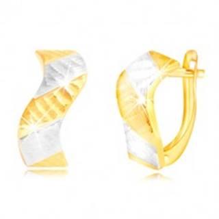 Náušnice zo zlata 585 - ligotavá vlnka so zárezmi a dvojfarebnými pásmi