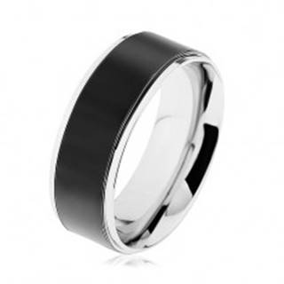 Obrúčka z ocele 316L, čierny pás, vysokolesklý lem striebornej farby - Veľkosť: 57 mm