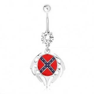 Oceľový piercing do pupka, číry zirkón, ovál s južanskou vlajkou, lem