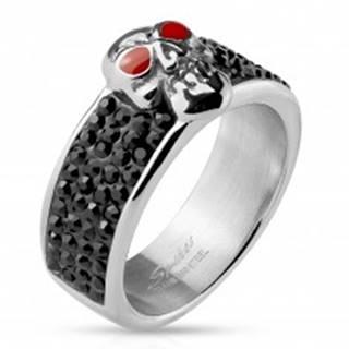 Oceľový prsteň striebornej farby, lebka s červenými očami, čierne zirkóny - Veľkosť: 59 mm
