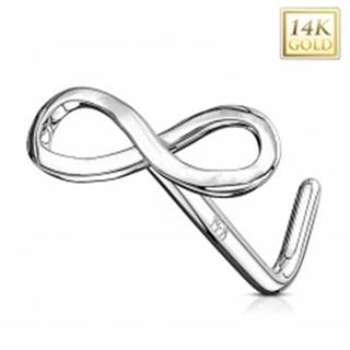 Piercing do nosa z bieleho 14K zlata - lesklý symbol nekonečna