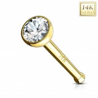 Piercing do nosa zo žltého 14K zlata - rovný tvar, číry zirkón v objímke, 2 mm - Hrúbka piercingu: 0,8 mm