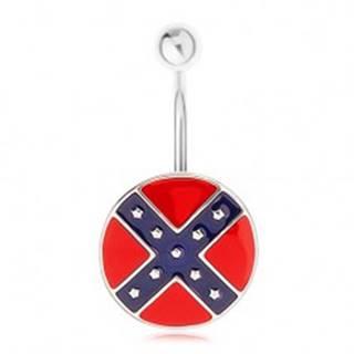 Piercing do pupka z ocele 316L, kruh s motívom južanskej vlajky