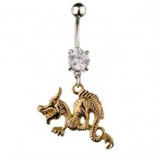 Piercing do pupka z ocele - zúrivý drak zlatej farby