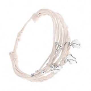Pletený náramok z bielych motúzikov, prívesky z ocele - nôžky, guličky