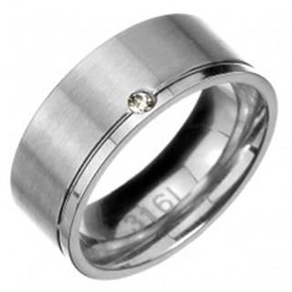 Prsteň z ocele - matný pás s lesklým zárezom a zirkónom na okraji - Veľkosť: 57 mm