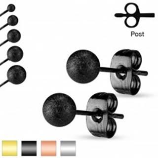Puzetové náušnice, oceľ 316L, pieskované trblietavé guličky, 4 mm - Farba: Čierna