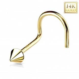 Zahnutý piercing do nosa zo žltého 14K zlata - lesklý kužeľ