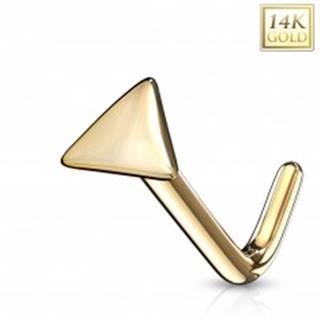 Zahnutý piercing do nosa zo žltého 14K zlata - lesklý trojuholník