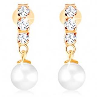 Zlaté náušnice 375 - tri číre zirkóny, guľatá perla bielej farby