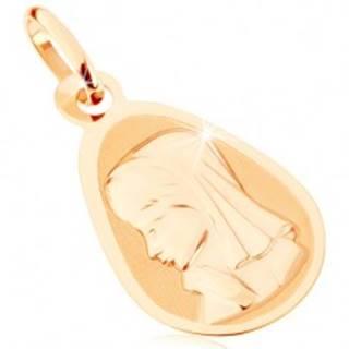 Zlatý prívesok 375 - matný plochý medailón, zaoblená kvapka, Panna Mária