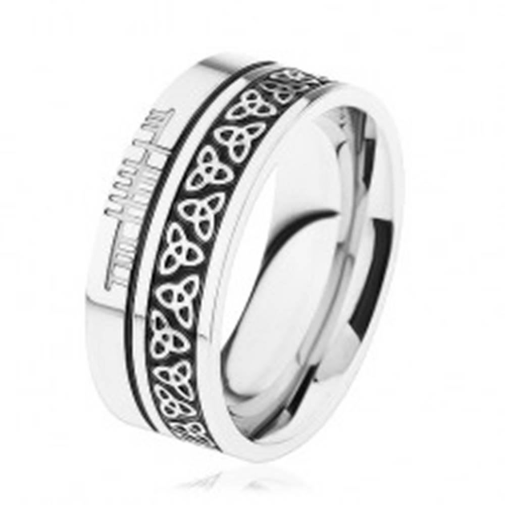 Šperky eshop Lesklá obrúčka, oceľ 316L, vzor - keltský uzol, lemy striebornej farby - Veľkosť: 54 mm