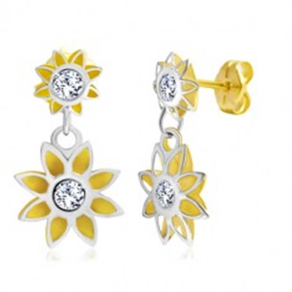 Šperky eshop Náušnice v 14K zlate - dva vyrezávané kvietky, dvojfarebné prevedenie