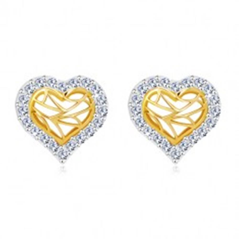 Šperky eshop Náušnice v 14K zlate - srdiečko so zirkónovým obrysom a výrezmi v strede