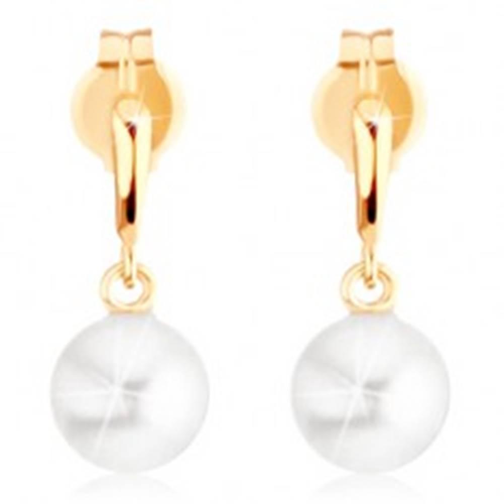 Šperky eshop Náušnice v žltom 9K zlate - úzka slzička, guľatá biela perla