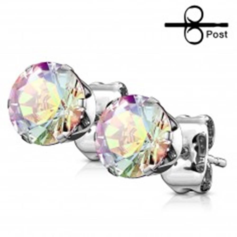 Šperky eshop Náušnice z chirurgickej ocele striebornej farby, okrúhly dúhový zirkón - Priemer: 3 mm