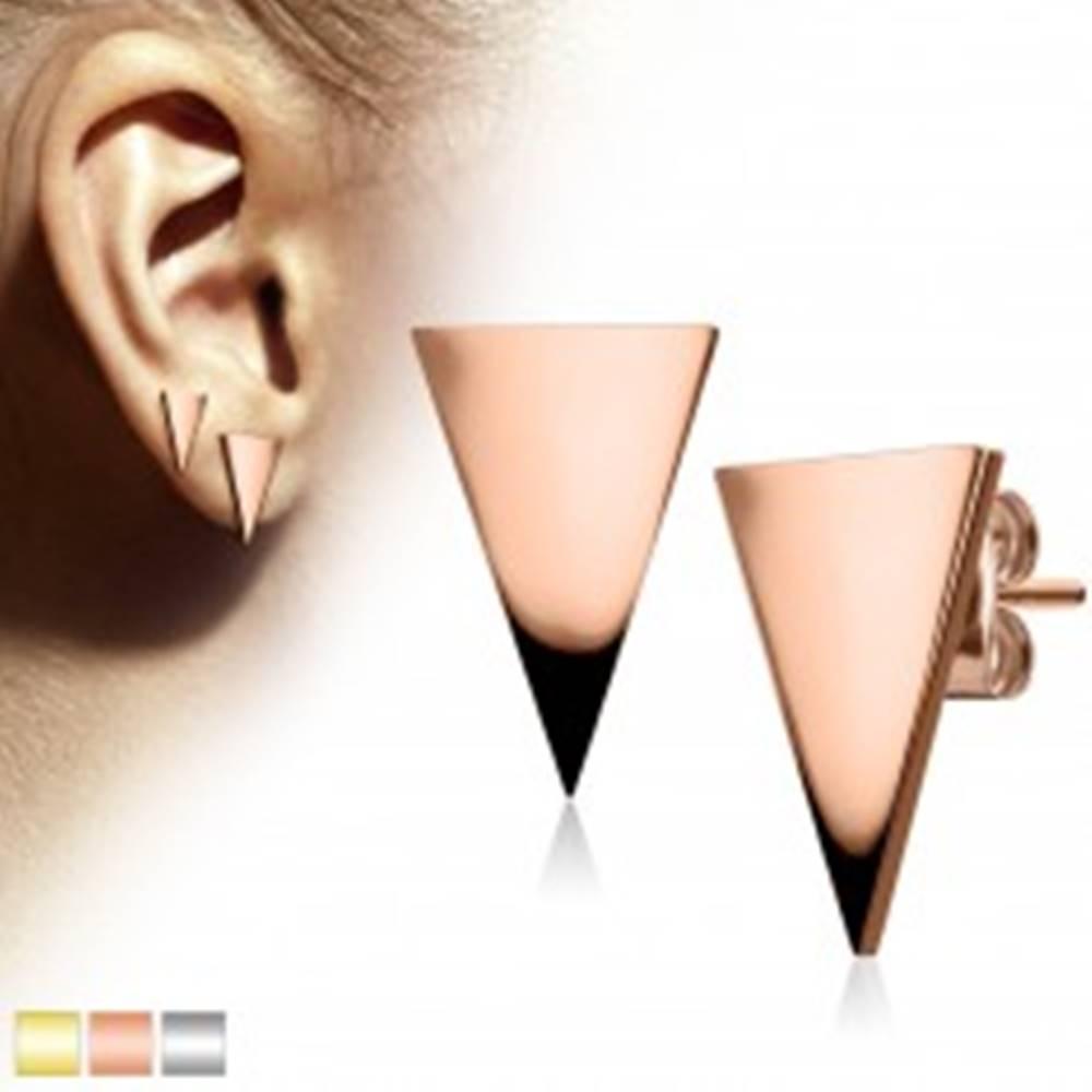 Šperky eshop Náušnice z chirurgickej ocele, veľký lesklý trojuholník - Farba: Medená