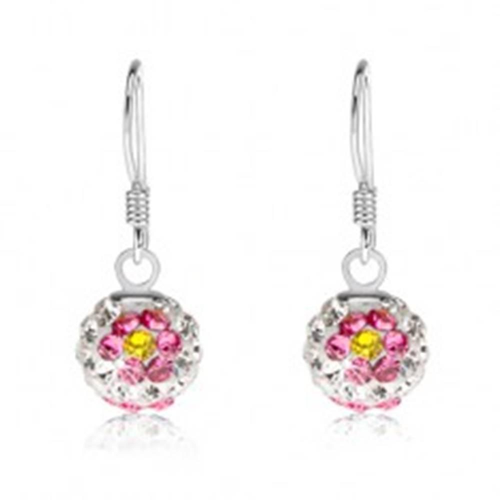 Šperky eshop Náušnice zo striebra 925, biele guličky, kvety z ružovo-žltých krištáľov, 8 mm