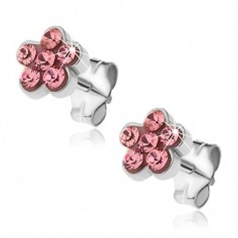 Šperky eshop Náušnice zo striebra 925 - puzetové kvietky s ružovými zirkónmi
