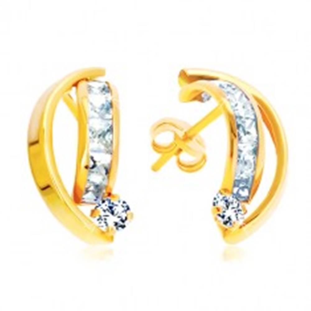 Šperky eshop Náušnice zo žltého 14K zlata - dva lesklé oblúky, zirkóny čírej farby