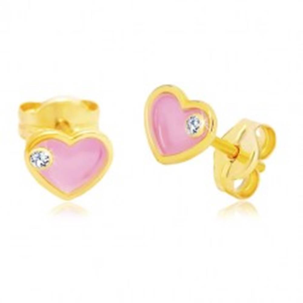Šperky eshop Náušnice zo žltého 14K zlata, srdiečko s ružovou glazúrou a zirkónom