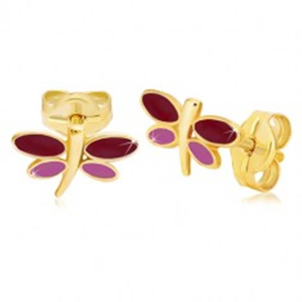 Šperky eshop Náušnice zo žltého 14K zlata - vážka s bordovou a fialovou glazúrou na krídlach