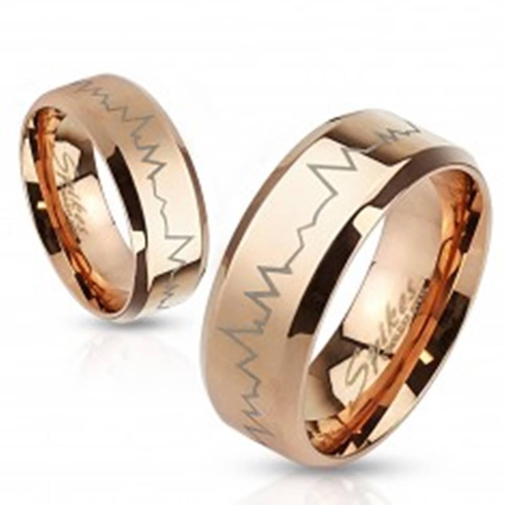 Šperky eshop Obrúčka z chirurgickej ocele medenej farby - tlkot srdca, skosené okraje, 6 mm - Veľkosť: 49 mm