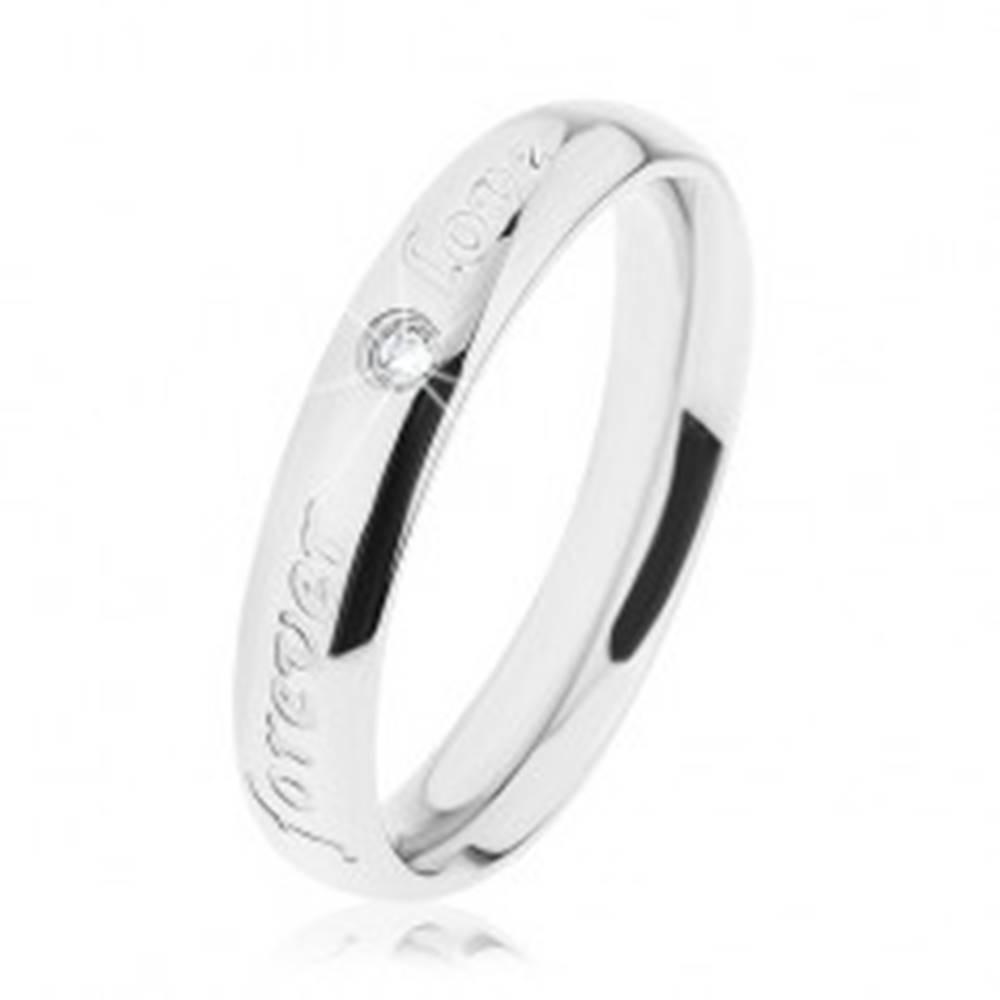 Šperky eshop Obrúčka z ocele 316L, strieborná farba, gravírovaný nápis, číry zirkónik - Veľkosť: 49 mm