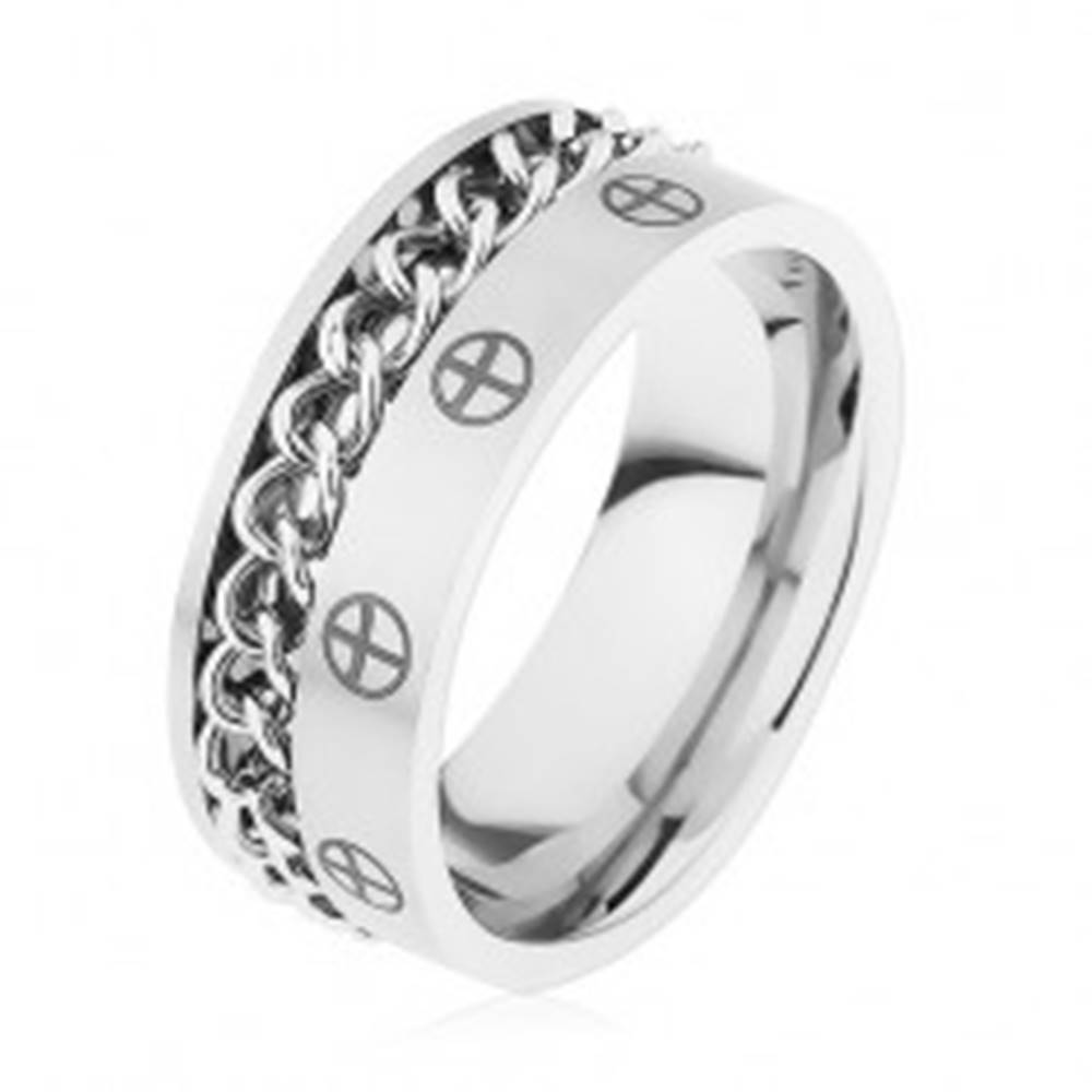 Šperky eshop Obrúčka z ocele 316L, strieborná farba, retiazka, krížiky v kruhoch - Veľkosť: 57 mm