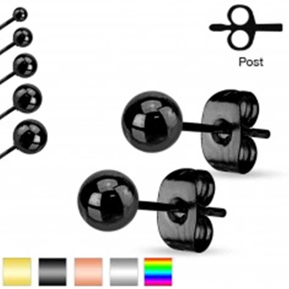 Šperky eshop Oceľové náušnice, guličky s lesklým hladkým povrchom, 6 mm - Farba: Čierna