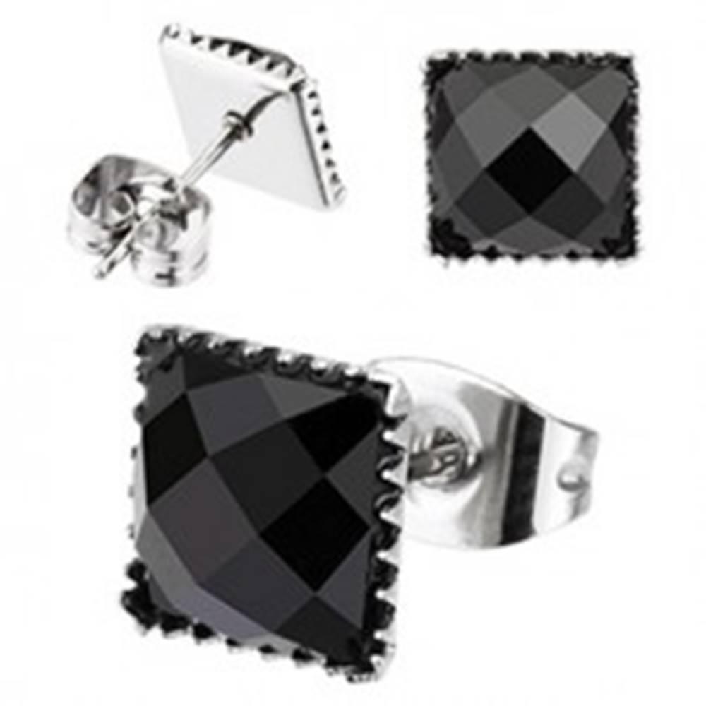 Šperky eshop Oceľové náušnice - vsadený štvorcový zirkón, puzetové zapínanie - Veľkosť zirkónu: 4 mm